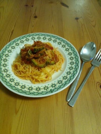 ゴーヤとツナのトマトスパゲティー