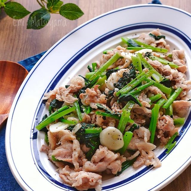 豚こまと小松菜のにんにくマヨ炒め