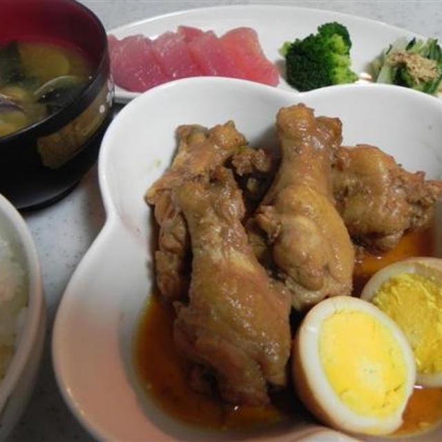 手羽元と煮たまごの甘酢煮 あさり味噌汁