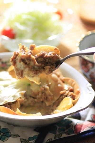 豚挽肉の中華ラザニア風