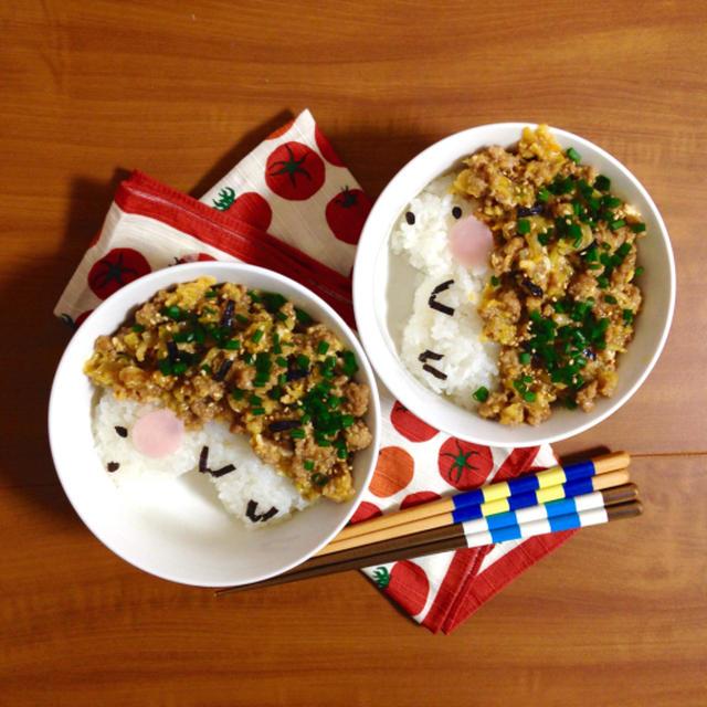 簡単朝ごはん!あつあつで♪濃厚キャベツ卵そぼろで「ハリネズミ丼」