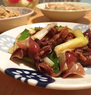 ホタルイカと長ねぎの生姜焼き