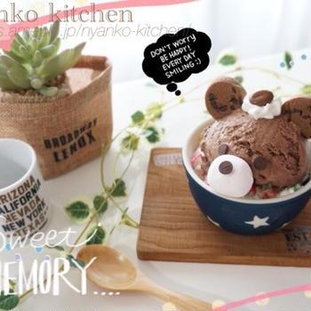 簡単くまチャンデコの手作りチョコアイス♡