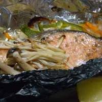 黒ホイルde秋鮭のホイル包み焼き