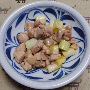 わささんしょう風味の鶏肉と白ネギの酒炒り