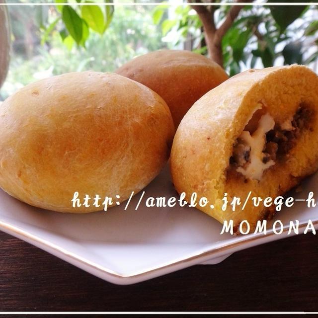 発酵なし♪3種のかぼちゃパン風レシピ ナツメグ風味(^-^)きんぴらごぼう・キムチチーズ・ゴーヤ佃煮包みました