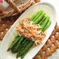 5分以内☆グリーンアスパラガスと桜えびのサッと煮☆ヤマキ割烹白だし使用 by ルシッカさん