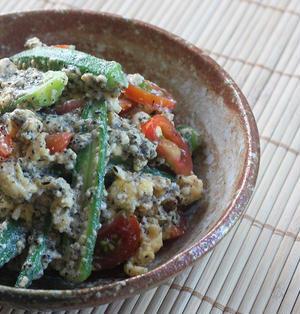 【オクラのレシピ】オクラとトマトと炒り卵の白和え