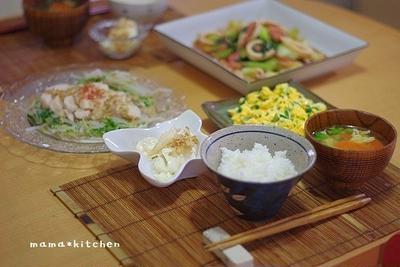 イカとチンゲン菜の中華餡がらめのお夕飯