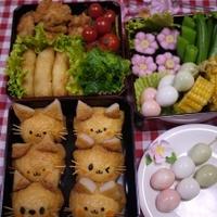 【キャラ弁】ネコちゃんいなり♪でお花見弁当~(^^♪