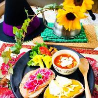 魔女の朝食☆ハロウィン風オープンサンドプレート