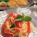 トマトとバジルの冷製パスタ&カツオのパルミジャーノ風味フライ by shoko♪さん