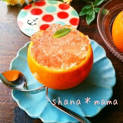 生搾りオレンジとレモンのとろぷるゼリー♪