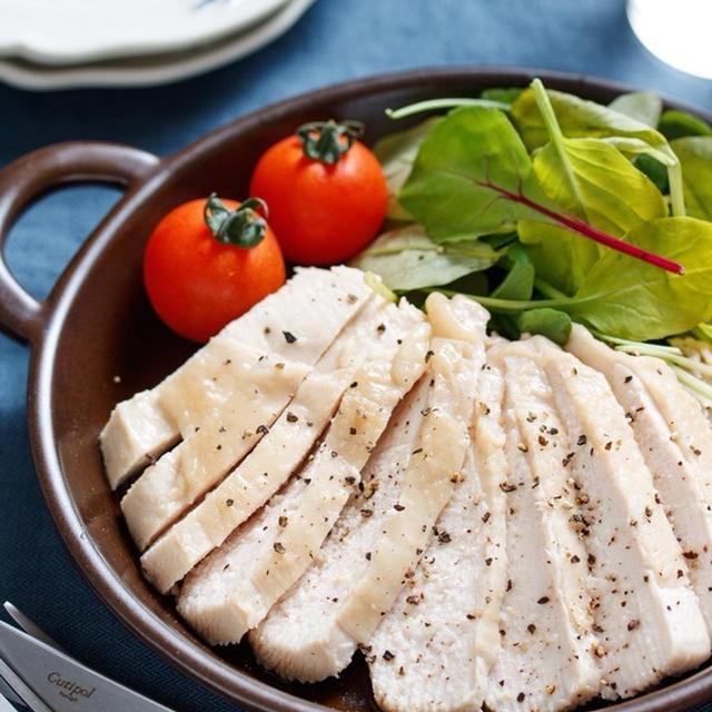 むね肉de塩ダレチキン(鶏ハム)【#作り置き #下味冷凍 #お弁当 #レンジ #湯煎 #ポリ袋 #おつまみ #クリスマス #お正月 #主菜】