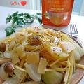 《レシピ有》パルメジャーノ・レッジャーノ チーズチップス!ワンパンしめじのパスタ。