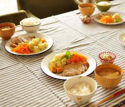 豚ロースの塩麹ソテーと千切り人参のサッと炒め、母さんお気に入りの手拭いについて^^