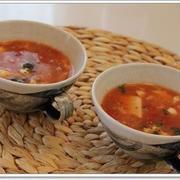 納豆とくずし豆腐のトマト味噌スープ☆