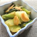 チンゲン菜とにんにくのごま油めんつゆ炒め