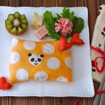 水玉オムライスとほうじ茶のお豆腐シフォン