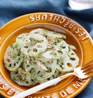 れんこんとツナののり塩きんぴら【#作り置き #冷凍保存 #お弁当 #レンジ #やみつき #副菜】