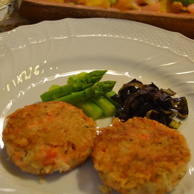 ♪★なすの塩ヨーグルトサラダ★&★サーモンケイク★イギリス風ディナー♪