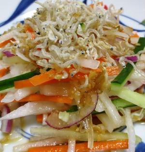 おじゃこ(ちりめんじゃこ)と大根のサラダ