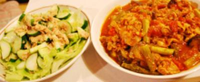 豚肉と夏野菜のトマト煮+サラダ