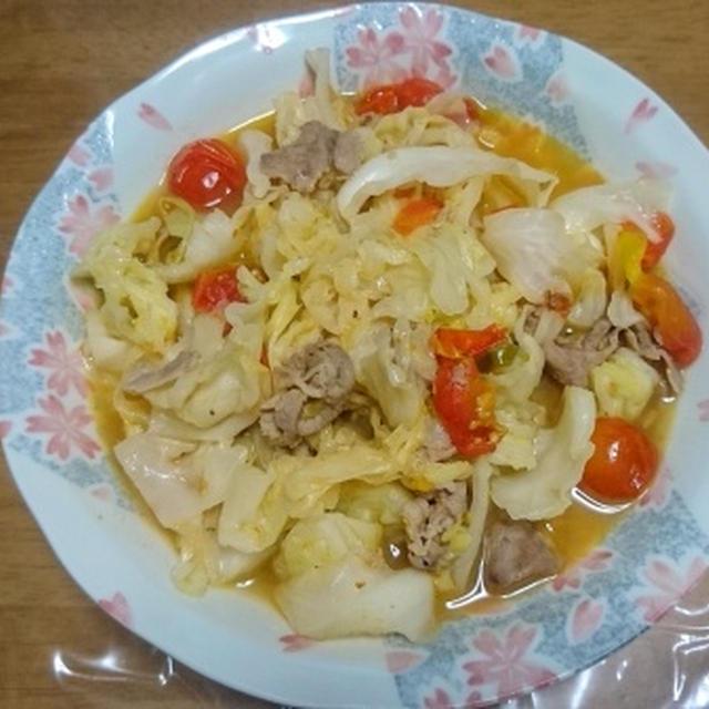 豚肉とキャベツとトマトのチリソース炒め