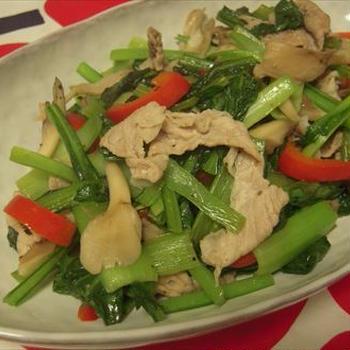 小松菜と舞茸のオリーブ油ソテー