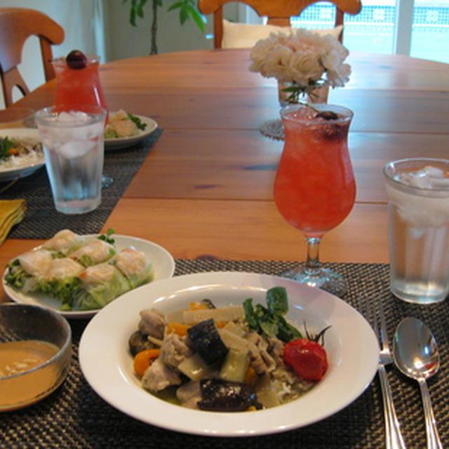銀ママ泳ぐ—手巻き寿司ディナーと、ピンクシャンパンとチェリーとイエローピーチのサングリア