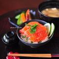 「酢橘飯で鮭いくら丼」