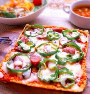 糖質オフ♪油揚げの薄焼きピザ♪