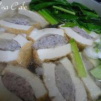 豚団子入り厚揚げと小松菜鍋