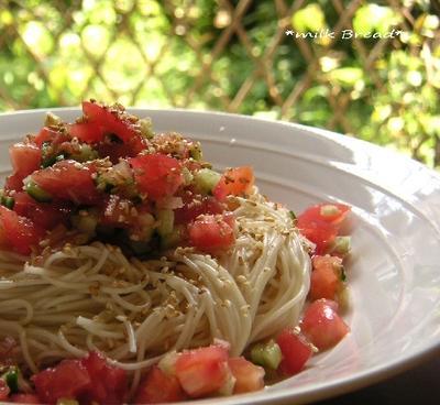 トマトときゅうりのキラキラ素麺