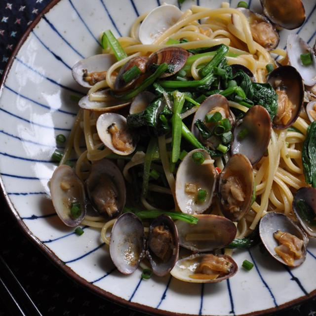 アサリと小松菜の和風ボンゴレ・リングイネ