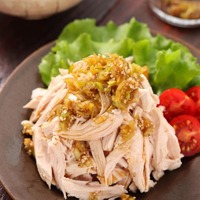 むね肉de香味ゆで鶏【#作り置き #簡単 #時短 #節約 #ヘルシー #ダイエット #スープも無駄にしない #主菜】