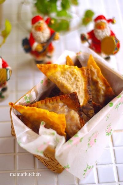 レシピ. ワンタン皮で!超簡単サクサク♡ミートパイ*野菜のハンコでワンコ。