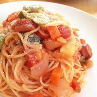 野菜スープのリメイクトマトパスタ
