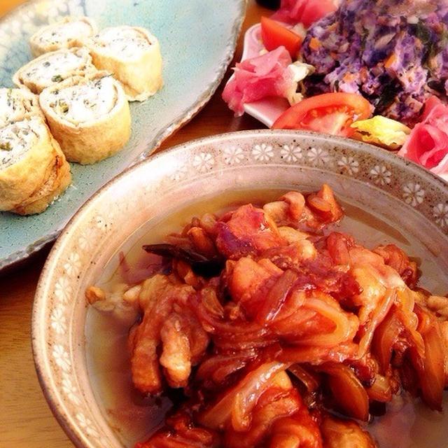 鶏皮の煮物となまり節の紫ジャガイモサラダ