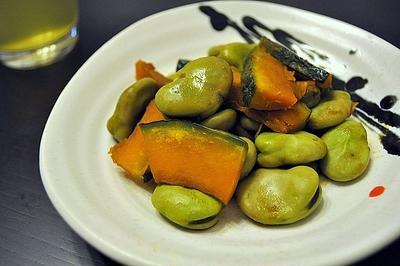 簡単☆そら豆とかぼちゃの甘煮