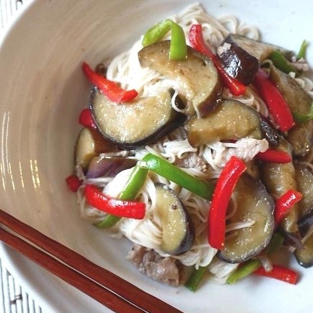 茄子と豚肉の素麺炒め味噌風味