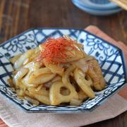 れんこんと玉ねぎのきんぴら。【常備菜・定番野菜をプラス】と餃子のごはんの日。