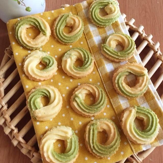 レシピ「絞り出しクッキー♡抹茶マーブル」