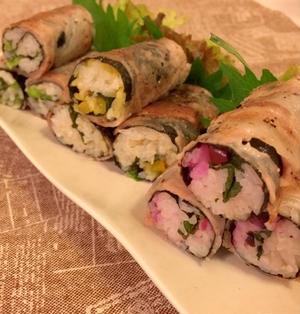 ミツカンすし酢で簡単SUSHI+♪ 彩り漬物で肉巻き寿司