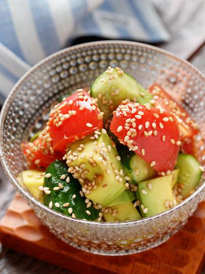 アボカドとトマトときゅうりの中華サラダ【#簡単 #節約 #時短 #やみつき #副菜】