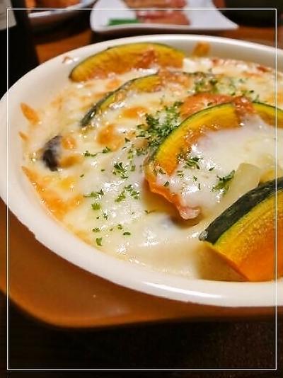 牡蠣とかぼちゃのマカロニグラタン