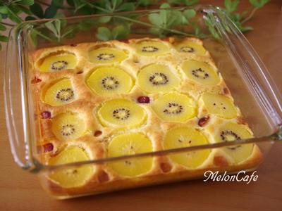 ホットケーキミックスでつくる、フルーツのスコップケーキ☆バニラビーンズたっぷり、ゴールドキウイとさくらんぼ味