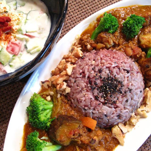 夏のヘルシーカレー:ナスとひき肉と豆のカレー