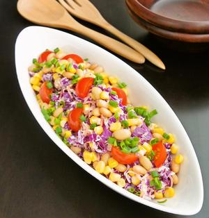 簡単お洒落なデパ地下サラダ☆紫キャベツと大豆のコールスロー