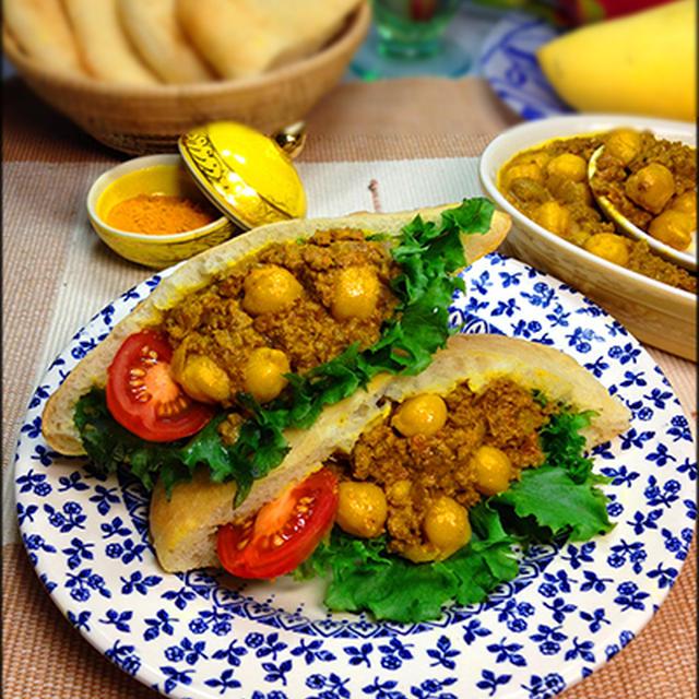 ネパール風豆のカレーのピタパンサンド